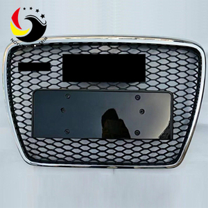 Audi A6 08-10 RS Style Chromed Frame Black Grid Front Grille (No Logo)