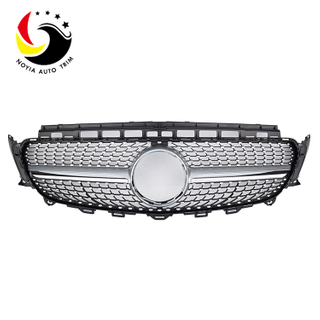 Benz E Class W213 Diamonds 16-IN Silver Front Grille (Without Camera Hole)